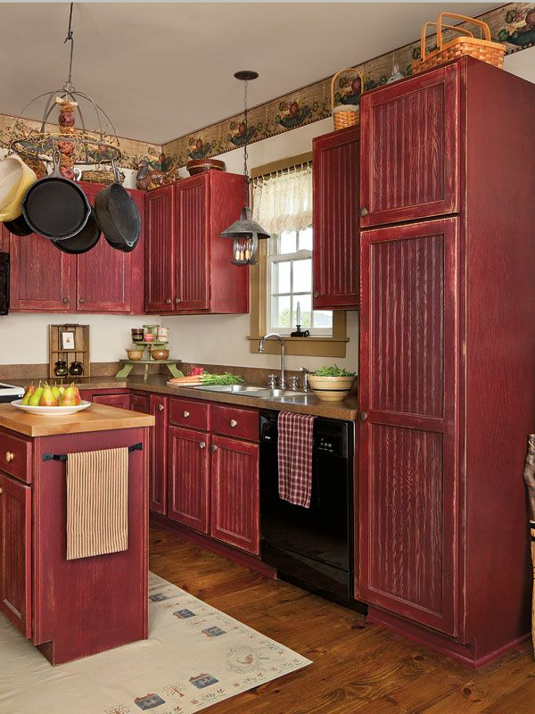 Distressed Barn Red Kitchen Cabinets - Anipinan Kitchen