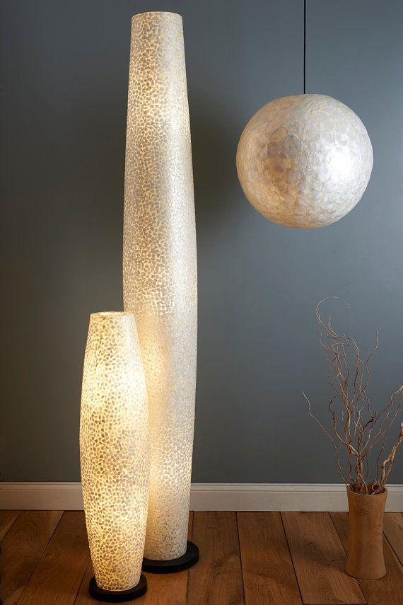 unique design white capiz floor lampcollectiviste on etsy