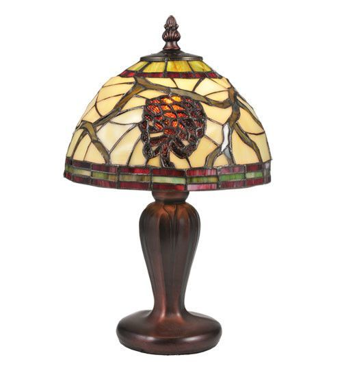 """Lodge Tiffany Floral Burgundy Pinecone 13"""" H Mini Table Lamp with Bowl Shade"""