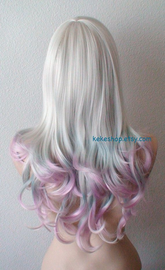 silver teal lavender ombre wig lace front wig wavy hairstyle long side bangs wig durable heat. Black Bedroom Furniture Sets. Home Design Ideas