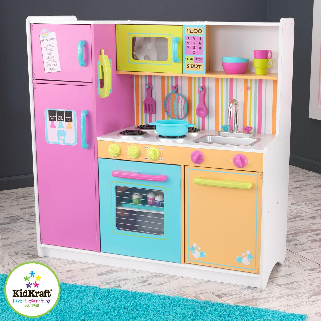 Kidkraft Deluxe And Bright Wooden Kitchen
