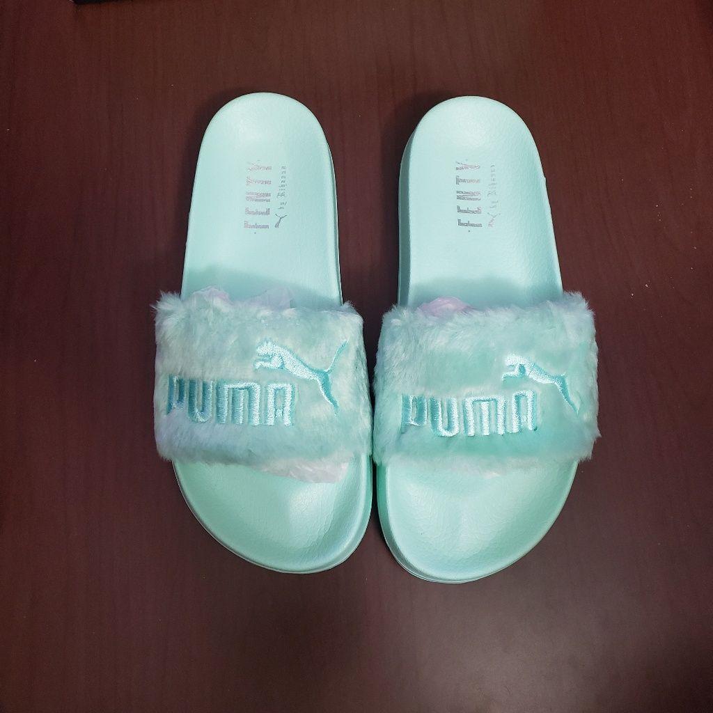 Fenty fur bay mint green slides sandals