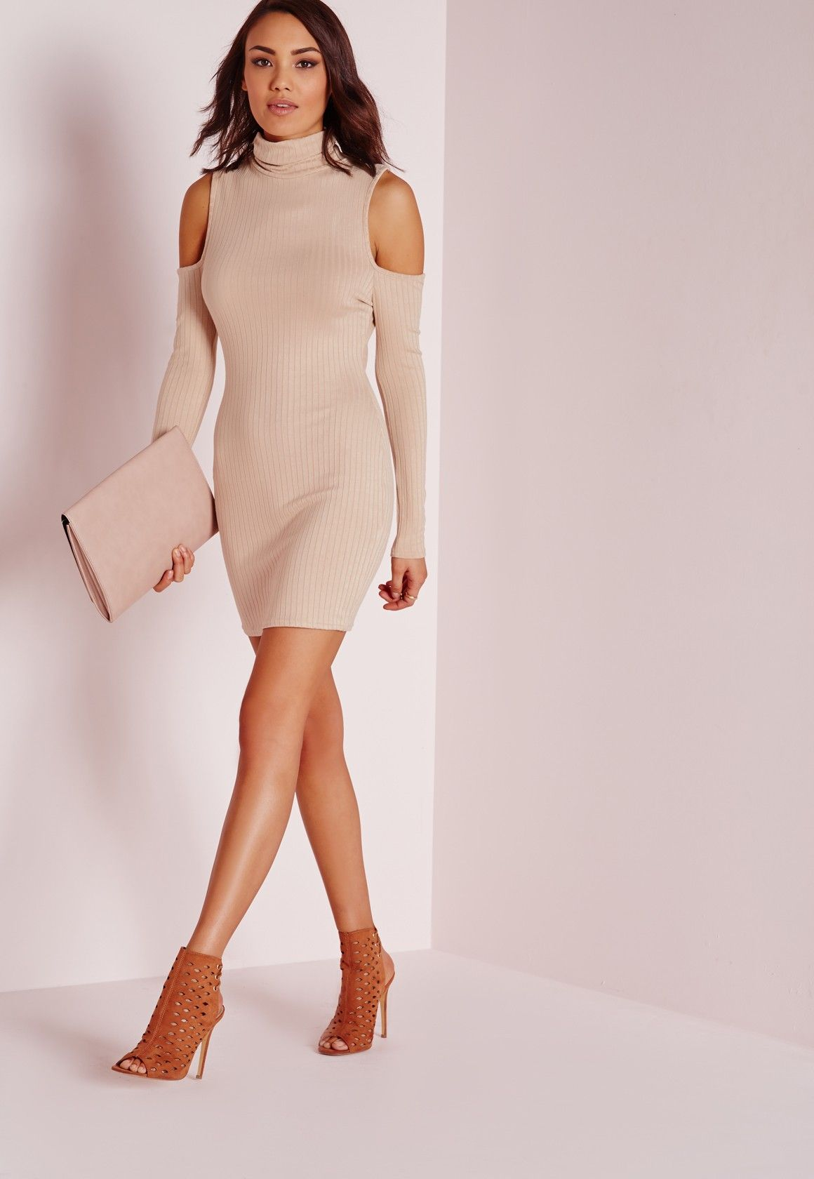 Missguided - Roll Neck Cold Shoulder Bodycon Dress Nude