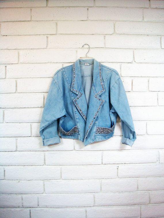 80 ' s vintage veste en Jean clouté slouchy par CherryBombVintage77