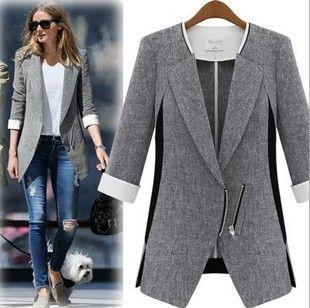 2015-Fashion-Jacket-Blazer-Gray-Women-Suit-Three-Quarter-Sleeves-O ...