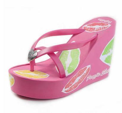 bf270247d Wedges Platform Shoes Women Lips Print High Heels Foam Slippers Female  Summer Flip Flops Beach Sandals