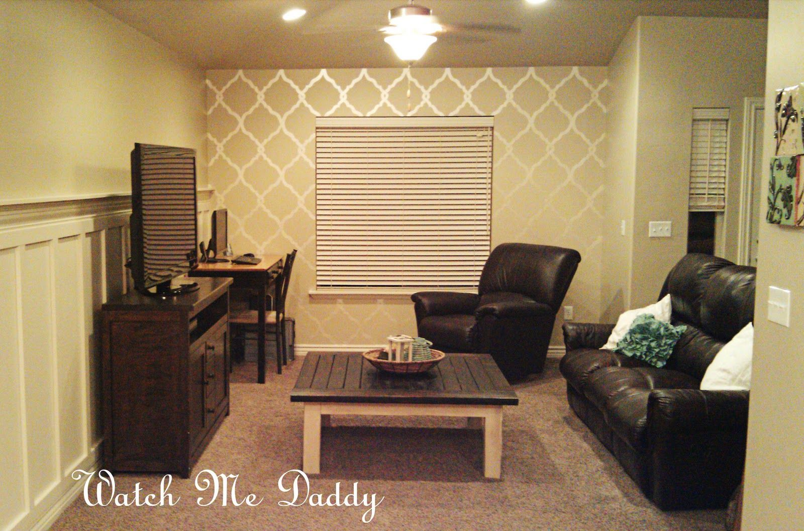 Feature wall with painted stencil | Watch Me Daddy: Stenciled Wall ...