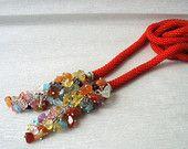 Sunset Orange Bead Crochet Rope - Red Necklace With Rough Citrine, Quartz, Fluorite, Aventurine, Carnelian