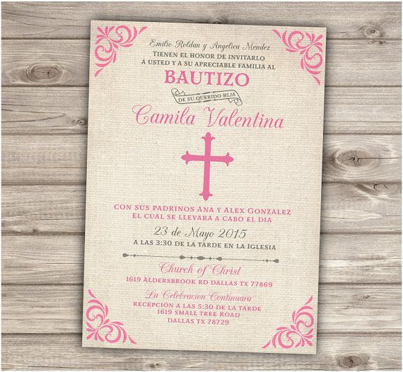 Spanish Printable Baptism Christening Invitations Burlap Cross Pink - invitation for baptism girl