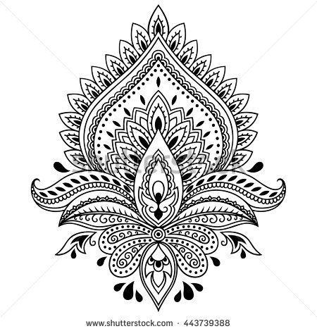 Oblong Mandala Coloring Page Henna Tattoo Flower Template In