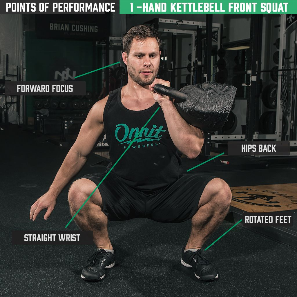 Exercise Kettlebell Overhead Windmill Modified: One Arm Kettlebell Front Squat Exercise