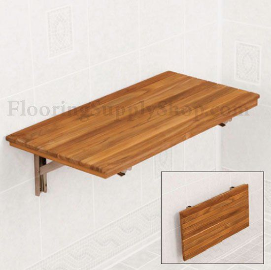 Teak Wall Mount Fold Down Bench 18 By Flooringsupplyshop Com With