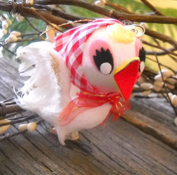 1950's Felt Christmas Chirping Bird Ornament - with JAPAN label