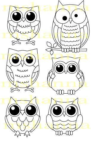 Owls Boyali Kayalar Desenler Owl