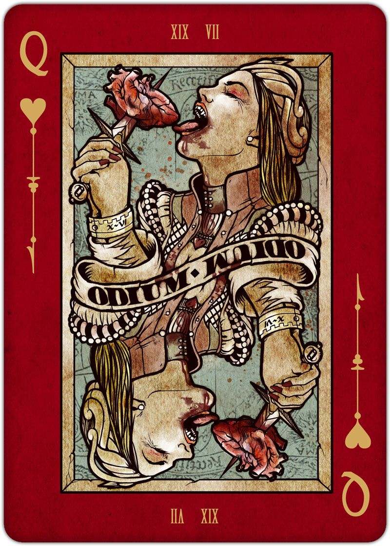 Playing cards queen of hearts requiem playing cards