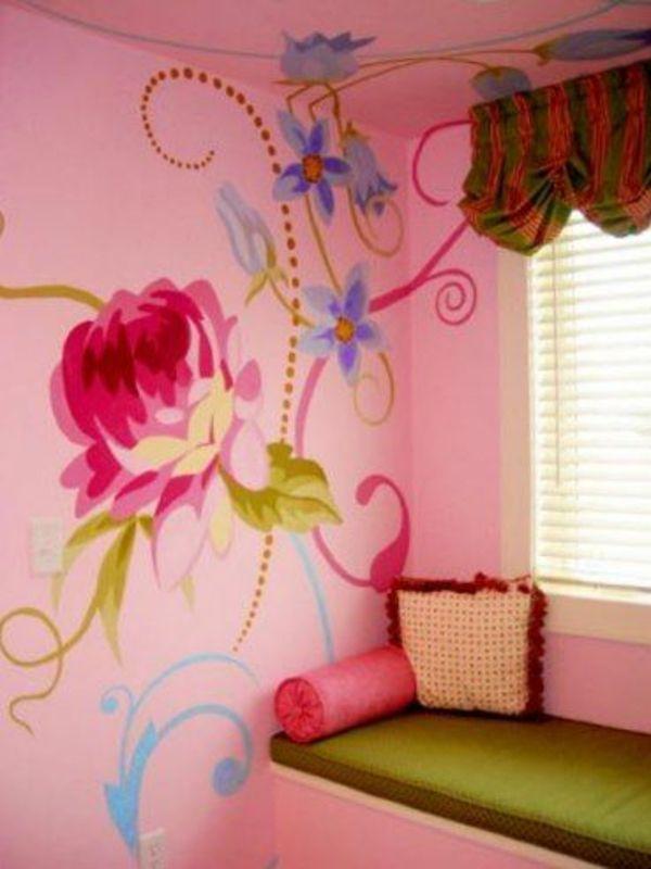 Wohnideen Wandbemalung Kinderzimmer Blumenmuster Wandmalerei