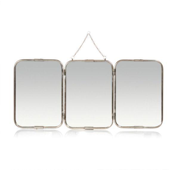 Wandspiegel, inkl. Kettenauhängung, Messing, Spiegelglas Vorderansicht