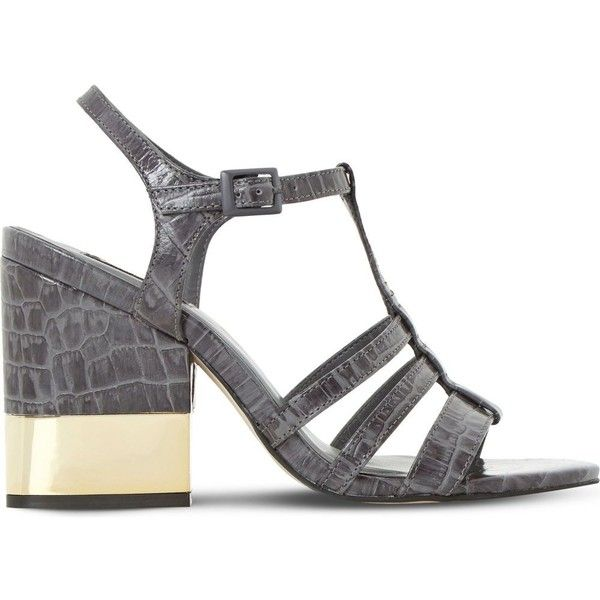 DUNE BLACK Jettison mock-croc leather sandals ($96) ❤ liked on Polyvore featuring shoes, sandals, open toe high heel sandals, t strap high heel sandals, t strap shoes, t strap sandals and croc footwear