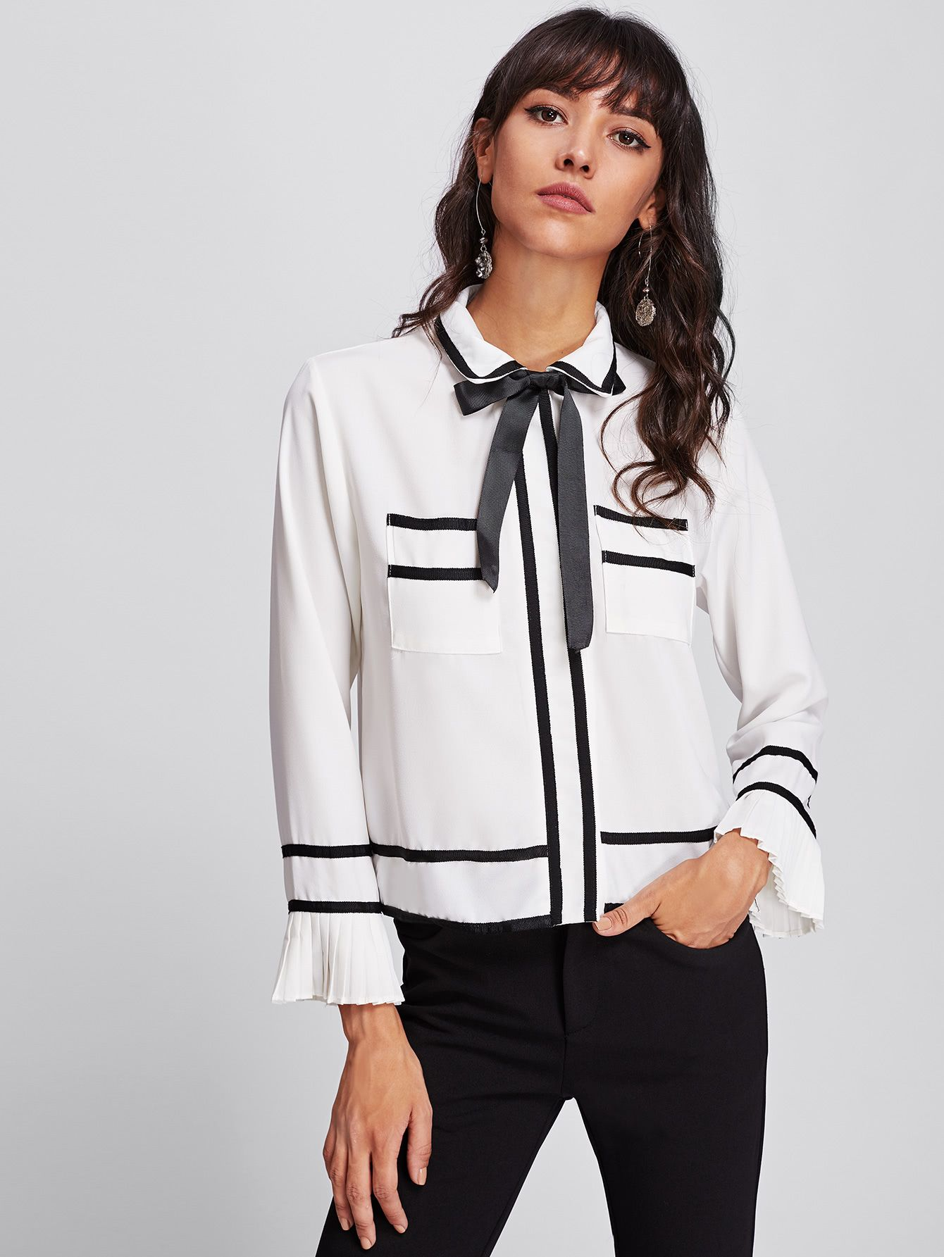 361be92338 Shop Contrast Trim Ruffle Cuff Bow Tie Neck Shirt online. SheIn offers  Contrast Trim Ruffle Cuff Bow Tie Neck Shirt & more to fit your fashionable  needs.