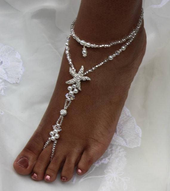 Pearl Beach Foot Jewelry Beach Wedding Jewelry Starfish Anklet