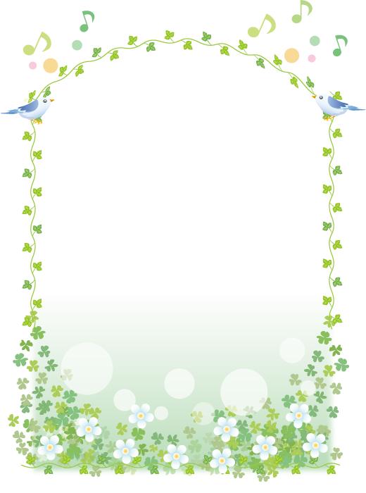 フリーイラスト 青い鳥と蔦と花の飾り枠 飾り枠 飾り枠無料 花 イラスト 無料