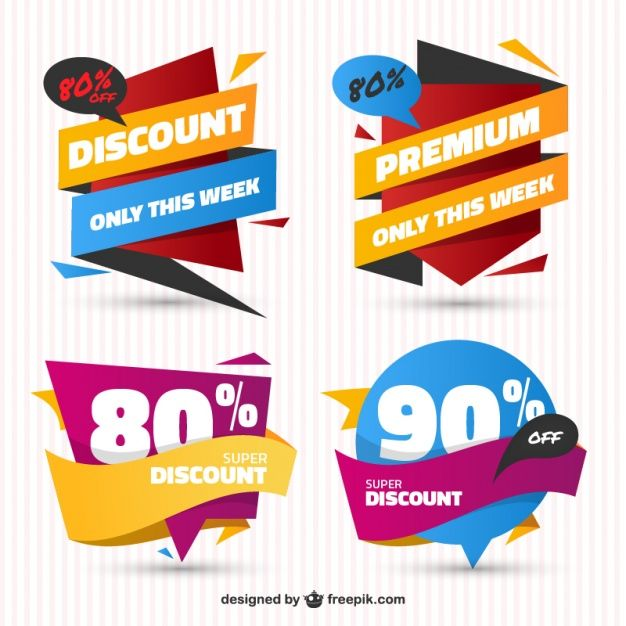 Freepik pack of sale stickers in flat design free vector