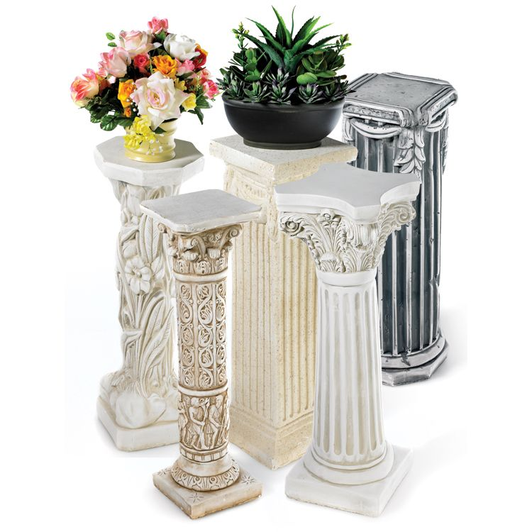 Plaster Pedestals Plaster Pedestals Are A Simple And Beautiful Way To Decorate Your Home Or Patio Perfect For Sculpture Stand Columns Decor Old Time Pottery