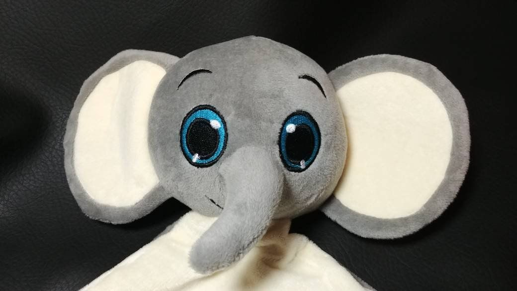 personalized grey elephant stuffed plush lovey animal security blanket custom embroidered new baby gift - Brush Script / other - put in notes