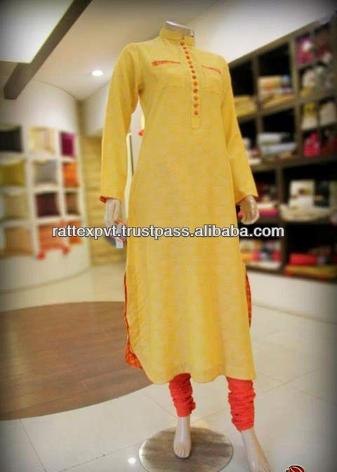 977e37d006 Newly Trendy Long Yellow Colour Party Wear Womens Kurti Designs 2013 ...