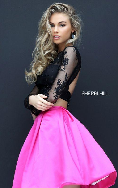Two Piece Beaded Lace Sherri Hill 50533 Open Back Short Prom Dress 2016