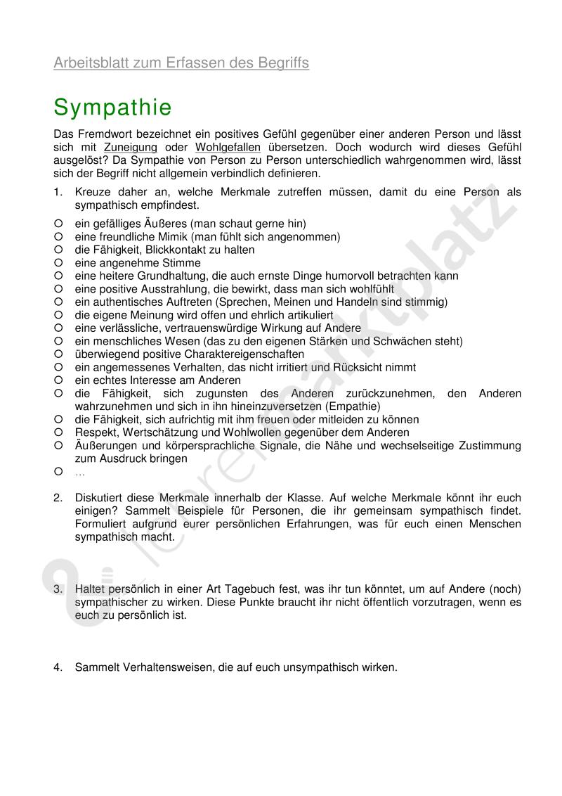Sympathie - Arbeitsblatt zum Erfassen des Begriffs – Ethik ...