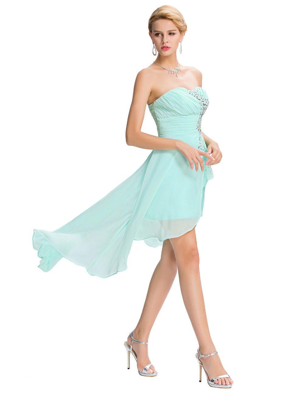 Grace karin short front long back evening dress pale turquoise