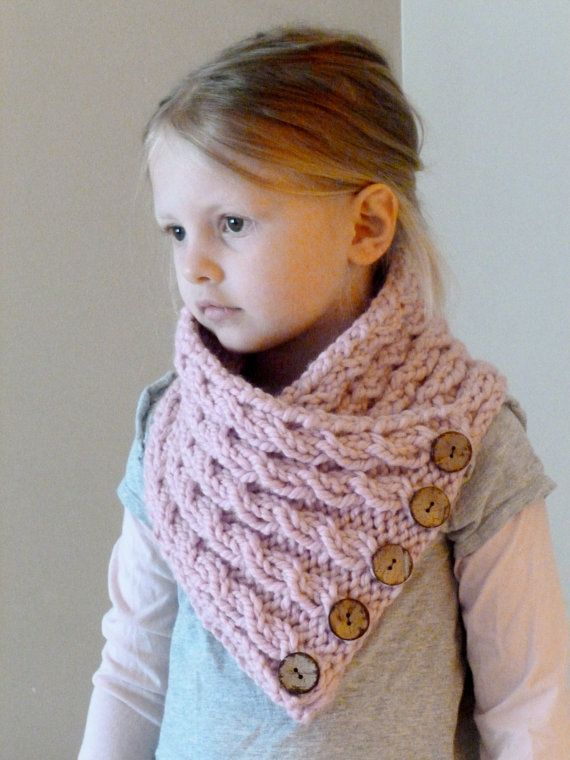 Knitting Pattern For Small Neck Scarf : Hand Knit Toddler/Kids Cowl Scarf Button Neck by ...