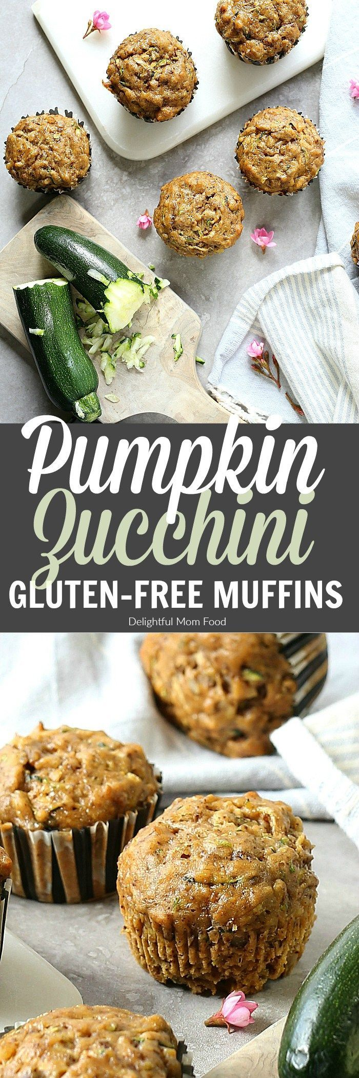 Pumpkin Zucchini Muffins (Gluten-Free) Light and fluffy pumpkin zucchini muffins made with gluten-free flours, zucchini and pumpkin! A healthy gluten-free muffin and great way to get veggies in the morning! #pumpkin | Recipe at