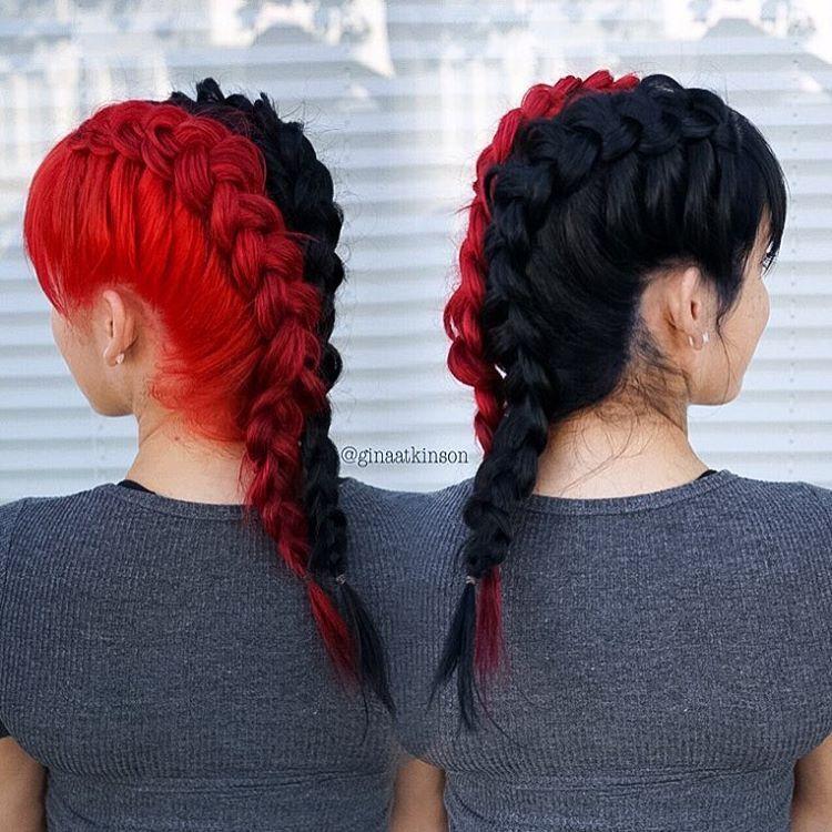 Pin By Cindy B On Rapunzel Split Dyed Hair Hair Styles Dyed Hair