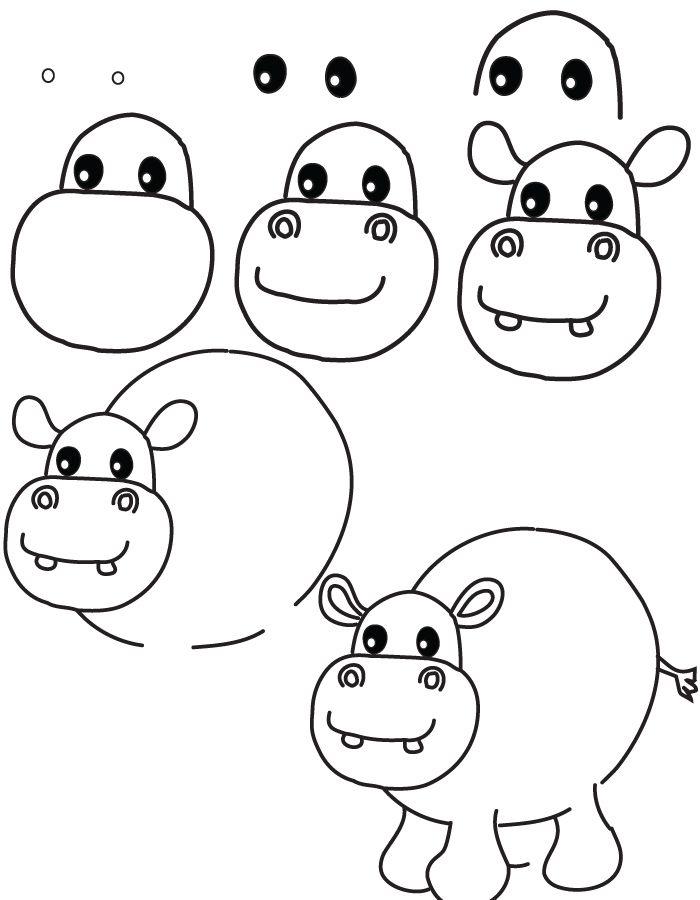 dibujando hipopótamos | ANIMALES | Pinterest | Hipopótamo, Dibujar y ...
