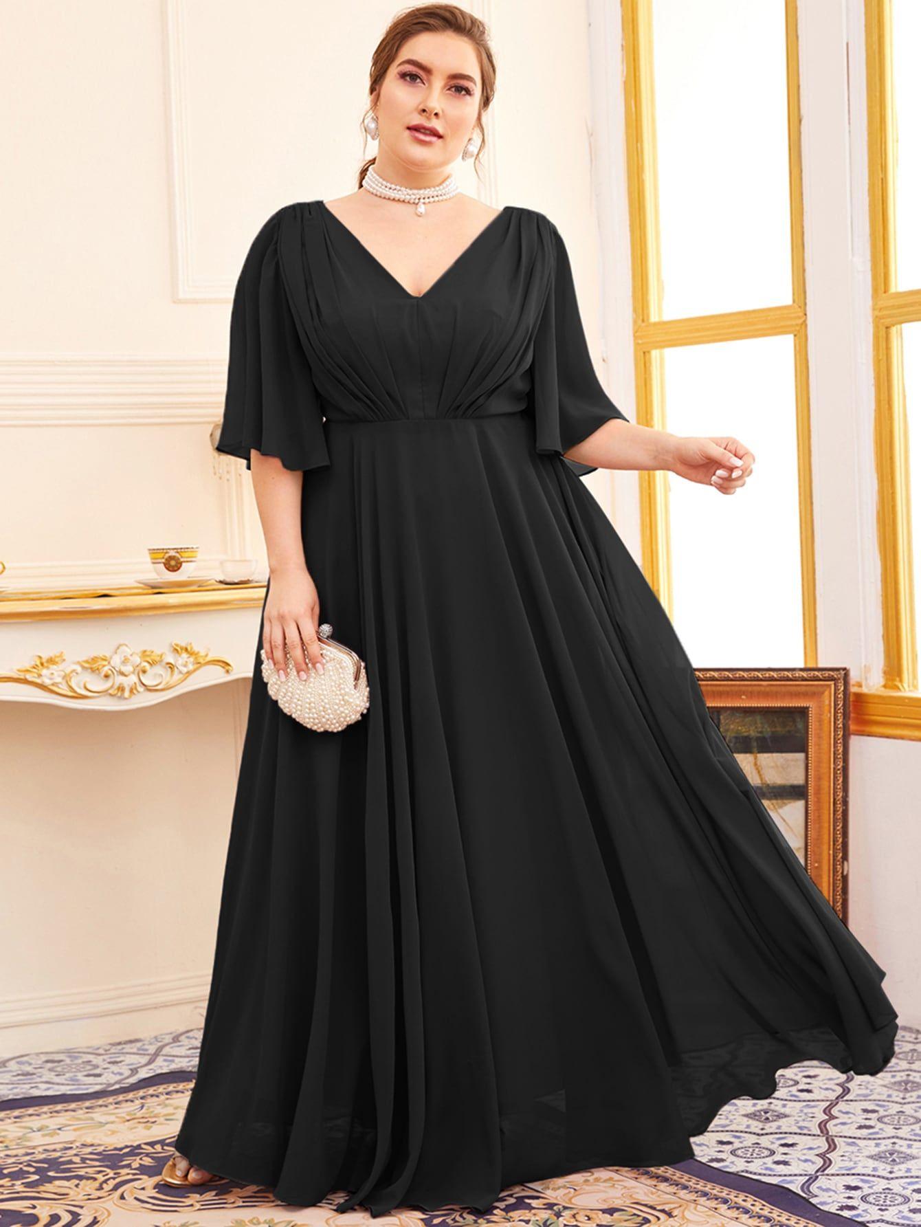 Plus Butterfly Sleeve Double V Neck A Line Dress Shein Usa Big Size Fashion Dress Bridesmaid Dresses Plus Size Black Lace Long Sleeve Dress [ 1785 x 1340 Pixel ]