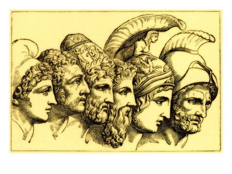 031e1ab15 The Heroes of the Trojan War: Paris, Diomedes, Odysseus, Nestor, Achilles,  Agamemnon Giclee Print