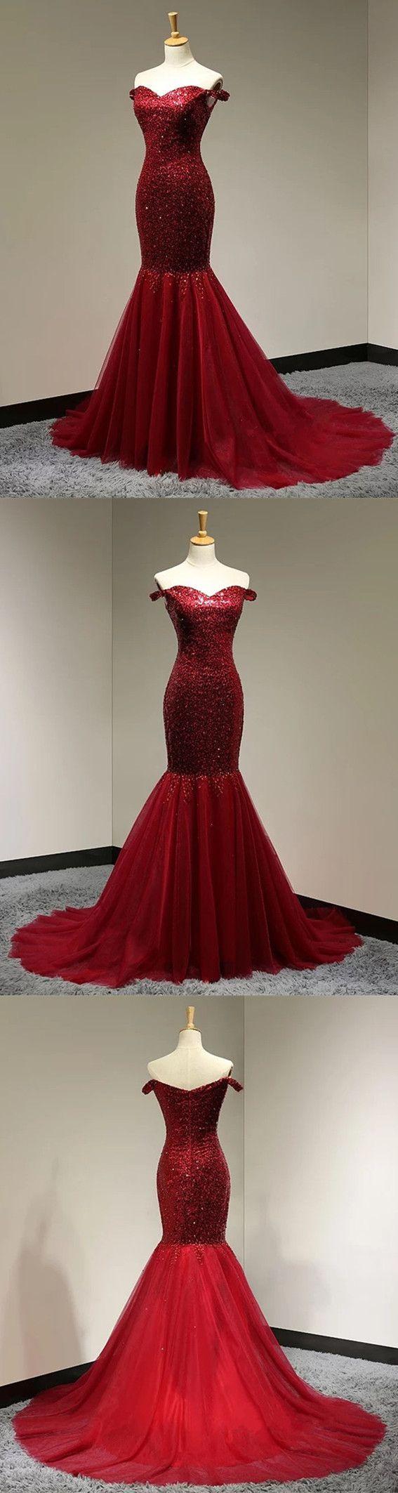 Burgundy sequins sweetheart mermaid evening dress off shoulder prom