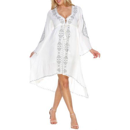 White Mark Women's Embroidered High Low Dress