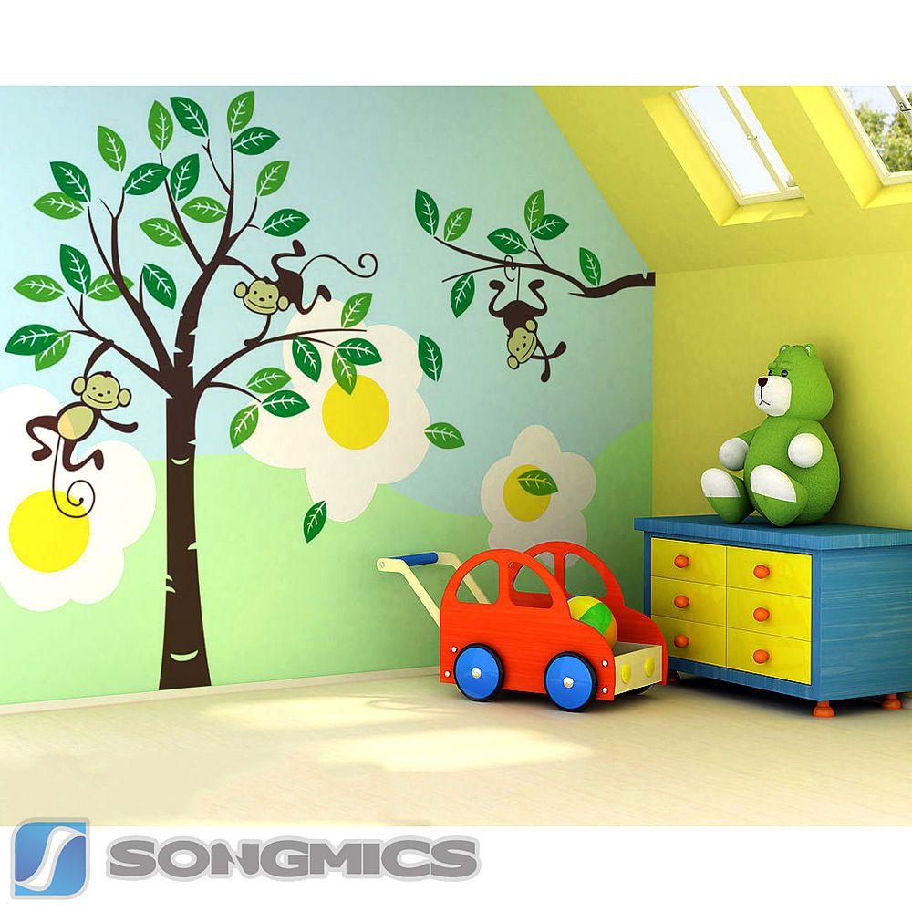 Wandtattoo Kinderzimmer Dschungel Und Elegant Wandtattoo: Große Wandaufkleber Bäume Affen Für Kinderzimmer
