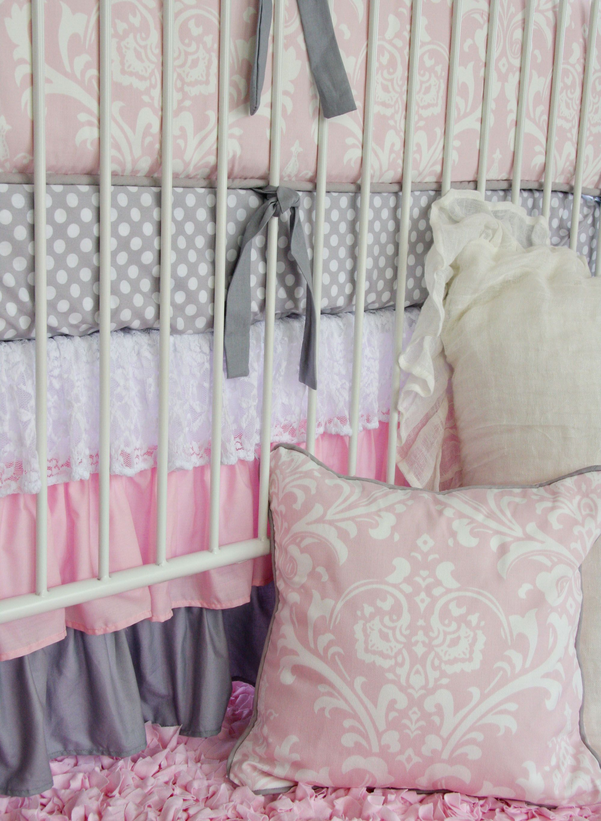 Caden Lane Pink Gray Lace Damask Crib Bedding Crib Bedding