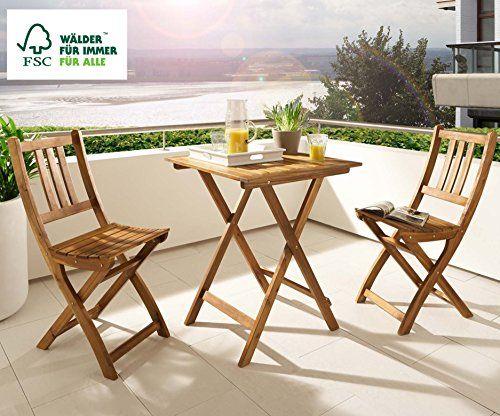 Balkongruppe Blossom, Akazienholz Geölt, Gartengruppe Mit 1 Tisch + 2 Stühle,  Klappbar, FSC Zertifiziert | Akazienholz, Kleine Balkone Und Gartenmoeu2026