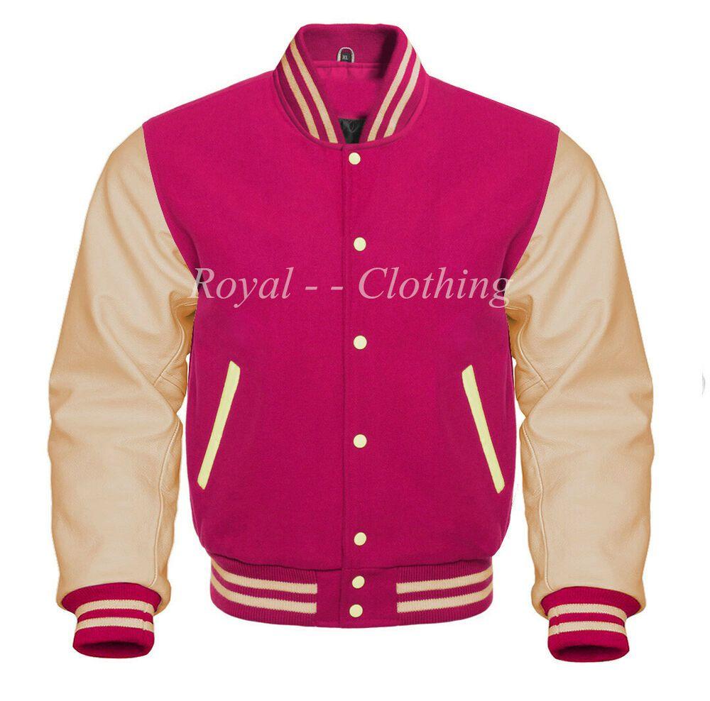 New American Letterman Baseball Sports Bomber Varsity Jacket Wool /& Real Leather
