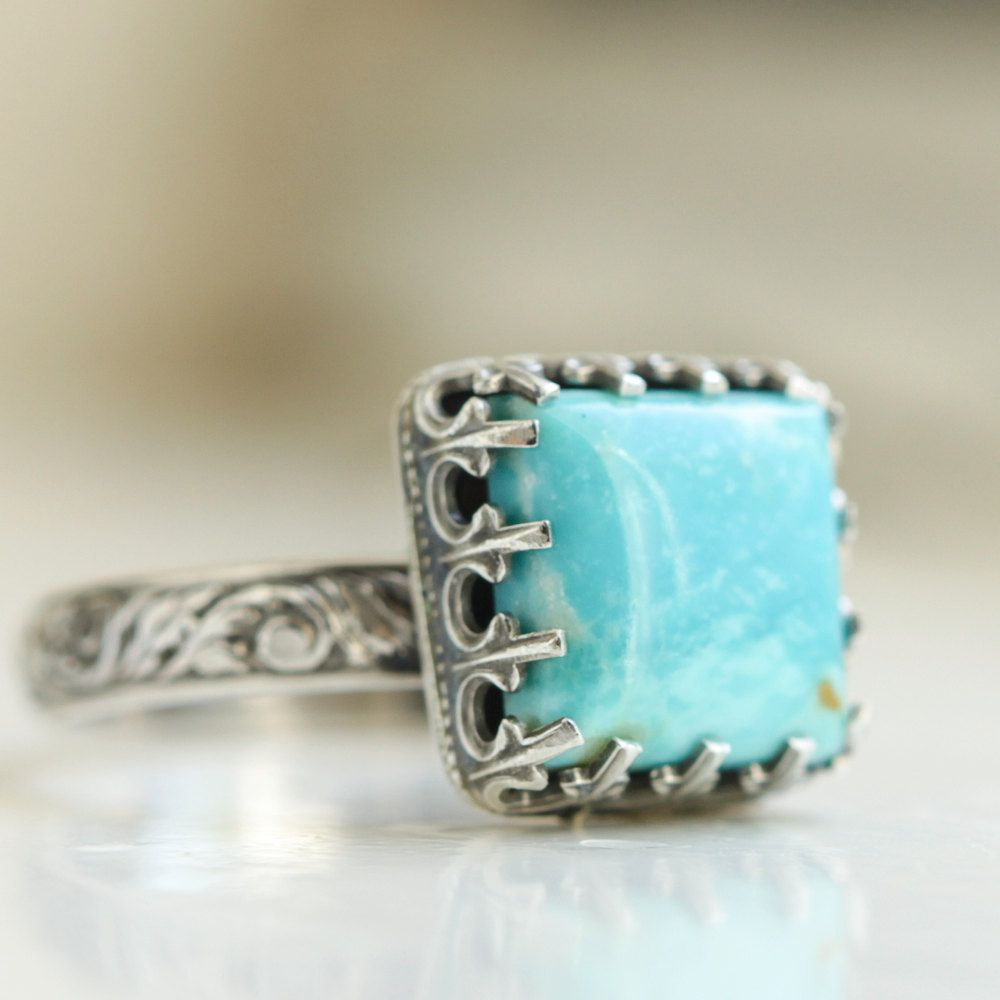 Princess Turquoise Ring, Sterling Silver. $96.00, via Etsy.