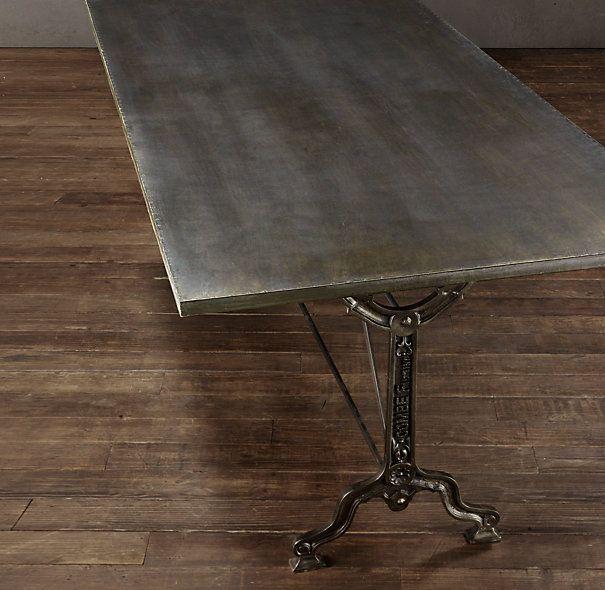 """Narrow Rectangular Dining Table: 72"""" Factory Zinc & Cast Iron Rectangular Dining Table"""
