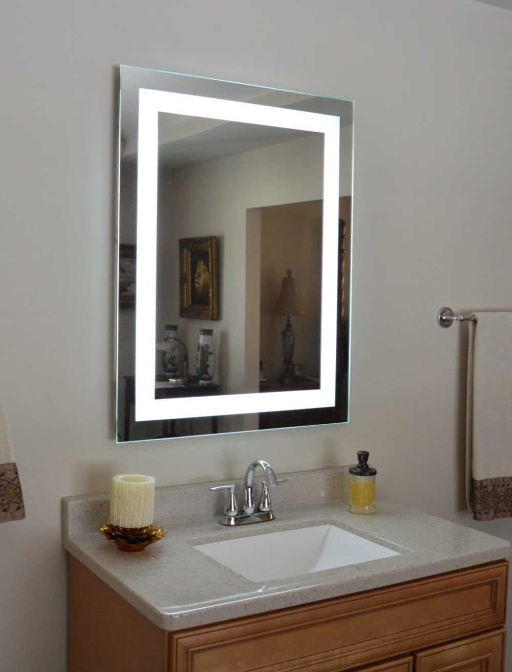 Front Lighted Led Bathroom Vanity Mirror 28 Wide X 36 Tall Rectangular Wall Mounted Modern Master Bathroom Bathroom Vanity Mirror Bathroom Mirror