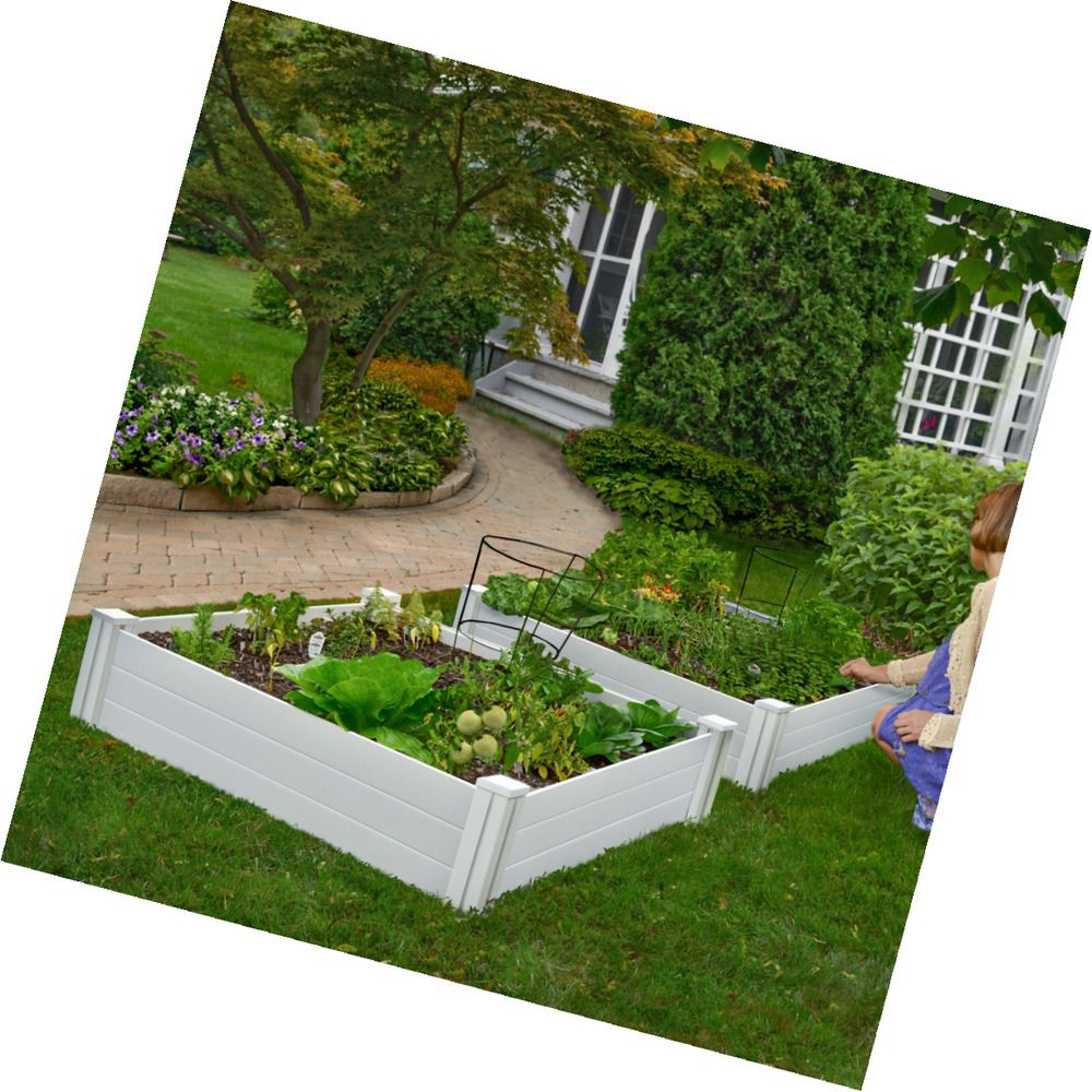 White Vinyl Raised Garden Bed 2 Pack With Images Raised Garden
