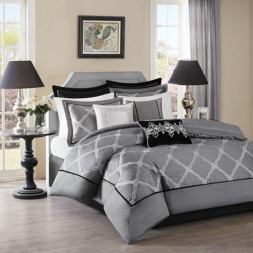 Teramo Grey Comforter Sets Comforters Bedroom Decor