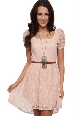 lace dress with cocoon sleeves high low hem and belted